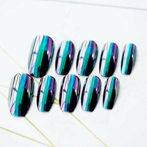 Sawpy 10 pièces effet miroir métallique faux ongles ovale Super holographique bleu violet 3D ongles en alliage pour la décoration des ongles soins des ongles