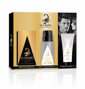 SCORPIO Collection Coffret 3 produits Gold – Eau de toilette flacon 75ml, Déodorant atomiseur 150ml et Gel crème pour visage 50ml
