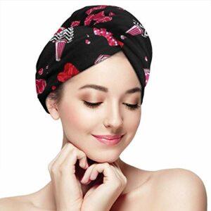 Serviette à cheveux en microfibre pour femme – Séchage rapide – Turban – 11 x 28 cm – Vernis à ongles