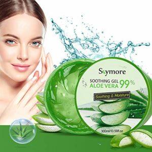 Skymore Aloe Vera Gel, Crème naturelle d'aloe vera pour peaux sèches, Réparation des coups de soleil, Apaisant et nourrissant, Soin hydratant naturel pour le visage, Le corps et les cheveux