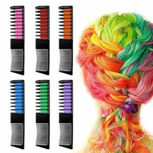 sokey Lot de 6 peignes de coloration pour cheveux – Pour fille – Couleur temporaire – Lavable – Pour coloration des cheveux instantanée – Pour fête et cosplay