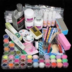 Stecto Kit Manucure Ongles Nail Art Tips Faux Ongles Paillettes Décor Poudre Manucure Kit Gel acrylique Uv Gel ensemble vernis à ongles bricolage ensemble de manucure
