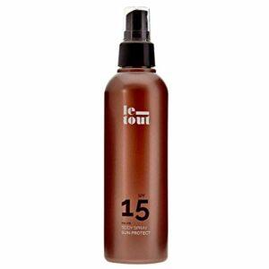 Sun Protect Spray SPF 15 – Crème solaire de protection UVA et UVB à l'aloe vera et à l'huile d'argan pour le corps, hydrate, nourrit et protège. Résiste à l'eau.200 ml