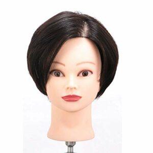 SXFYMWY Tête de Formation Cheveux Humains cosmétologie Mannequin de Coiffure Mannequin poupée pour Curling redressage Coiffure Pratique Costume de tête pour Le blanchiment et la Teinture