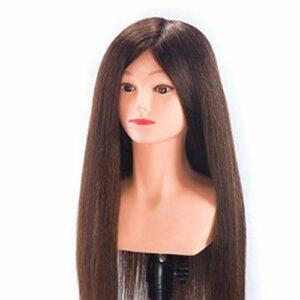 Tête de coiffure professionnelle en or tête de mannequin de formation de poupée factice de coiffure 70% tête de formation d'équipement de coiffure de cheveux synthétiques à usage professionnel