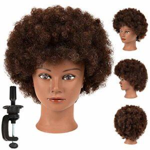 Tête de mannequin afro avec 100 % cheveux humains pour coiffeur, mannequin de cosmétologie, tête de poupée pour coiffeur, pratique de coiffure, tressage avec support de serrage gratuit (SY-humain)