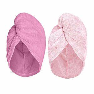 The Original Turbie Twist Lot de 2 serviettes à cheveux en microfibre Rose clair – Rose foncé
