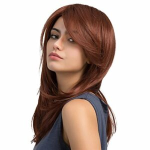 TopWigy Perruque Wigs Synthetic Fibre Synthétique Filet Rose Wigs 20″ Résistant à la Chaleur Long Pour Soirée Party Célébration Concours de Beauté etc(Rouge Vineux)