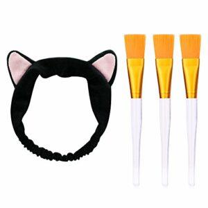 Turban Bain Spa Cheveux Élastique Mignon Flanelle Chat Oreilles Bandeau Brosses de Maquillage Brosse de Masque Maquillage Serre Tête