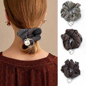 TYWZJ Perles Chouchous Cheveux Noir Paild Cravates Élastiques Corde À Cheveux Ponytail Titulaires Accessoires De Cheveux pour Femmes et Filles Lot de 4