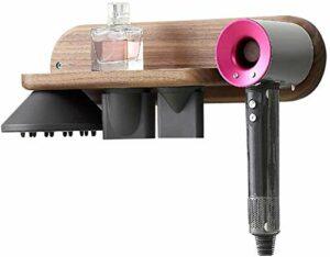 U-A Support de sèche-Cheveux pour Dyson Supersonic, Support Mural en Noyer Noir, Support de Suspension pour Dyson Supersonic, diffuseur et Deux Buses