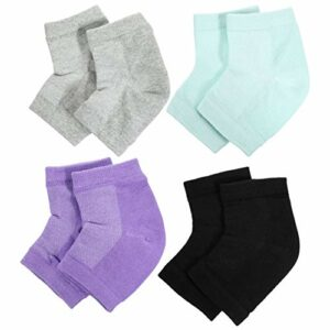 ULTNICE Lot de 4 paires de chaussettes hydratantes douces et ventilées en gel à bout ouvert pour peau sèche et craquelée