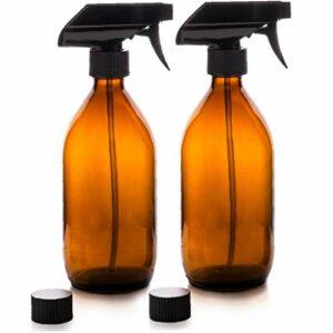 Verre Vaporisateur Ambre liquide Mist Trigger Vaporisateur 500ml réutilisable pour nettoyage Soins de la peau Bio Beauté Produits 2 PCS