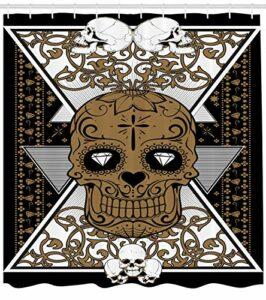 WANGXIAO Tatouage de Rideau de Douche crâne et imprimé de Tatouage de Fleur pour Salle de Bain