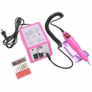 W&B Lion Kit de manucure et de pédicure pour ongles avec kit de limes électriques pour nail art avec machine rose (N2)