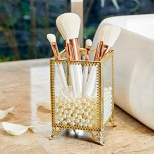 WolinTek Rangement Cosmétiques Support pour Pinceaux de Maquillage en Verre pour Coiffeuse et Salle de Bain,Porte-pinceaux doré