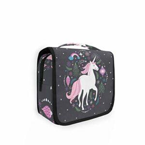 Xixiko Trousse de toilette pliable à suspendre avec motif licorne, arc-en-ciel, étoiles, flocons de neige