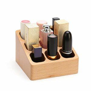 YNLRY Rouge À Lèvres Boîte De Rangement Multi-Ongles en Bois Ongles Lip Glaze Lip Gloss Polish Bureau Rack Finition (Color : Wood, Size : 9.8 * 9.6 * 6.5CM)