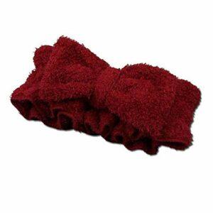 YUY Bandeaux Bowknot Cheveux Maquillage Spa Bain éLastique Pommeau Douche Enveloppes Sport Beauté Soins Peau Bandeau Mignon Microfibre Doux CosméTique,Red
