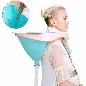 ZHANGLE Bassin de shampooing pour Cheveux Portable, avec Tube de vidange, lit de Lavage pour Cheveux de Bain, avec Crochets pour Serviettes et Bouchons d'oreille, pour Personnes âgées, handicapées