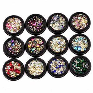 12pack Mixte Nail Art Accessoires Décor Coloré Diamants Strass Cristaux Métal Perles Gems Goujons Nail Art Décoration Bricolage Accessoires De Manucure Maquillage Et Les Soins