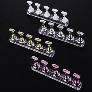 4 Ensembles Support d'ongle magnétique de cristal Présentoir à ongles en acrylique Porte-Pointe d'Ongle Manucure modèles de présentation pour nail art, Or, Argent, Or Rose, Blanc