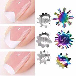 6 pièces tondeuse de bord d'art d'ongle français en acier inoxydable, ensemble de modèles d'ongles français colorés, plaque de bricolage à ongles facile ligne modèle d'ongle fournitures pour ongles