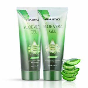 AKIMO 99% Gel d'Aloe Vera Bio – 2Pcs Crème Hydratante Naturelle, Hydratant pour Visage Corps Cheveux, Soins pour les Coups de Soleil, Réparer les Cicatrices, Apaisant et Anti-inflammatoire