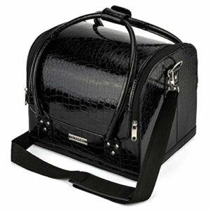 AMASAVA Mallette Maquillage Beauty Case avec cloison Valise Maquillage Coffret cosmétique Boîte à Maquillage, avec Bretelle et clé Coffrets Professionnelle – 27,5 x 19 x 20 cm,Noir