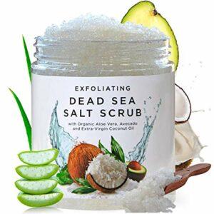 Amelgo Exfoliant pour le corps au sel de la mer Morte   exfoliant pour le corps avec de l'huile de jojoba bio, de la vitamine E nourrit la peau   exfoliants de douche 100 % vegan de luxe