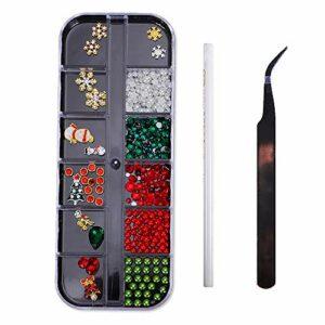 Assortiment de décorations de Noël 3D Nail Art Perles Fournitures à ongles Bijoux avec pince à épiler et crayon cueillette