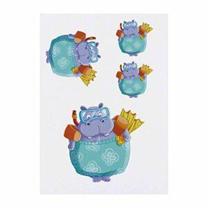 Azeeda 4 x 'Hippo en Maillot de Bain' Tatouages temporaires (TO00035143)