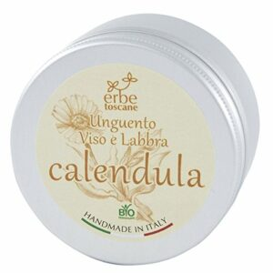 Baume BIO au CALENDULA – Excellent pour le Visage et les Lèvres, les Mains gercées et la Peau sèche – Pur concentré naturel – Produit artisanal de Italie (100 ML)