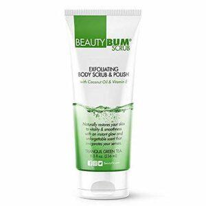 BeautyFit – BeautyBum Gommage exfoliant pour le corps – Élimine les cellules mortes de la peau – Se compose d'huile de noix de coco et d'ingrédients naturels – Thé vert tranquil – 8 oz
