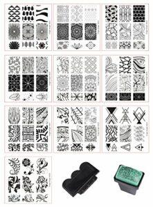 BeautyLeader Lot de plaques à ongles + 1 tampon pour nail art + 1 grattoir pour nail art