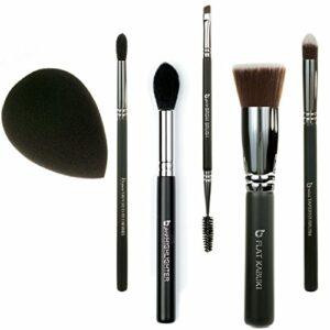 Best of Beauty Junkees Lot de 6 pinceaux de maquillage professionnels pour fond de teint, correcteur, surligneur, fard à paupières, sourcils, éponge à estomper, noir