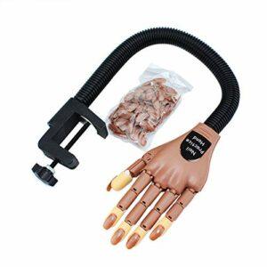 BLINNGO Main d'entraînement Nail Art,Maquillage Nail Art Formation Pratique de la main Apprentissage Modèle Ajustable Entraînement Manuel,Fausse Main Manucure(avec 100 bouts d'ongle)