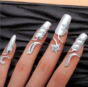 Brishow Faux Ongles Bague Argent Décoration Halloween Cristal Décoration d'Ongles à Porter sur Ongles Bijoux Réglable pour Femmes et Filles