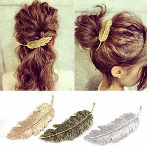 CINEEN Lot de 3 Pinces à cheveux Forme de Feuille Barrettes à cheveux Design en Métal pour Fille Accessoires de coiffure (Doré + Argenté + Bronze)