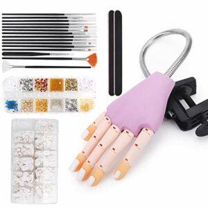 Deciniee Lot de 200 mains d'entraînement pour faux ongles – Stylo peint professionnel – Décoration en strass flexible et réglable – Pour manucure à faire soi-même