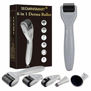 Dermaroller, Dermaroller Visage, Dermaroller Kit, 6 En 1 Derma Roller Kit pour Régéneration de Peau, Anti-âge,Anti-rides, Retrait de cicatrice acne, Pores contractifs, hyperpigmentation, Vergetures