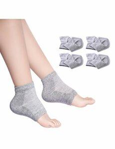 Donfri Lot de 4 paires de chaussettes hydratantes en gel pour pieds secs avec traitement thermique – Pour peaux sèches et gercées – Hydratantes – Avec orteils ouverts – Confortables – Gris