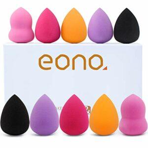 EONO Essential 10 pièces Éponges de maquillage Éponge à Fond de Teint pour maquillageÉponge de fond de teint sans faille pour crème et poudre liquides, Différentes formes multicolores