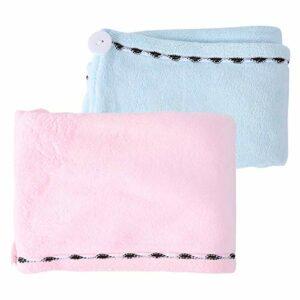 EXCEART Microfibre Cheveux Serviette Turban Wrap Absorbant Bain Pomme de Douche Serviette Séchage Rapide Chapeau Bain Capuchon Enveloppé avec Boutons pour Femmes Filles 2Pcs