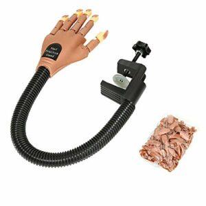 Faux modèle de main d'exercice pour les ongles – Réglable – Avec 100 faux ongles – Pour la manucure, le maquillage, l'apprentissage de la pression