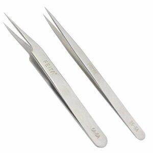 FEITA Precision Tweezers Pointe droite et inclinée en acier inoxydable Meilleur ensemble professionnel de la pince à épiler pour extension de cils, artisanat, bijoux
