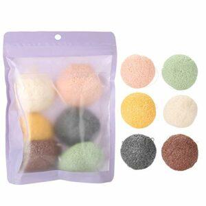 Flutter pour le visage, Goutte en eau de 6 couleurs 100% Konjac Wash Tampon en coton nettoyant Soins du visage naturels Éponges corporelles (sèches) (02)