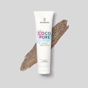 HelloBody Coco Pure Face Scrub (100mL) – gommage végan visage et cou – exfoliant naturel pour peau fatiguée – soin du visage purifiant en profondeur