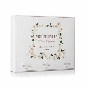 Instituto Español Set Parfum femme roses blanches – Air de Séville – EDT, crème hydratante, gel douche