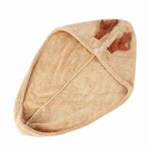 KALLORY Cheveux Serviette Wrap Turban Séchage Bain Pomme de Douche Serviette Renne Bois de Cerf Sèche-Cheveux Corail Polaire Enveloppé Bonnet de Bain pour La Faveur de Fête de Noël